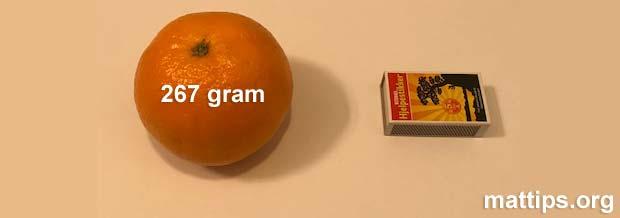 Hvor mye veier en appelsin?