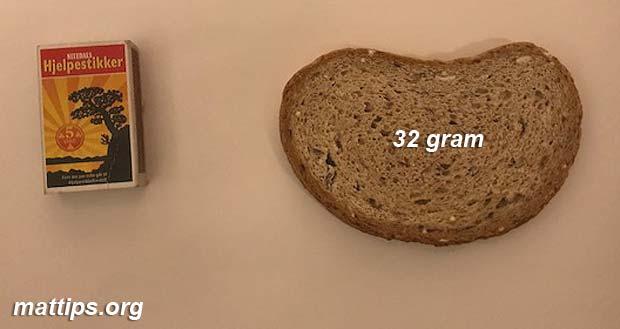 Hva veier en brødskive?